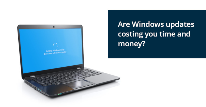 Laptop computer installing a Windows 10 update - Are Windows updates costing you time and money?